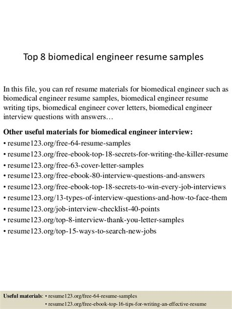 Biomedical Engineer Cover Letter by Top 8 Biomedical Engineer Resume Sles