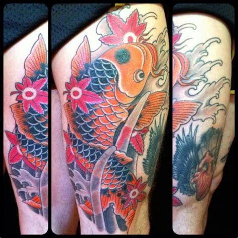 japanese koi tattoo leg leg japanese carp koi tattoo by black cat tattoos