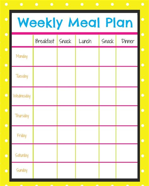 Free Menu Planner To Plan Out Healthy Snacks And Meals Through Out The Week This Has Helped Cut Weekly Meal Planner Template With Snacks