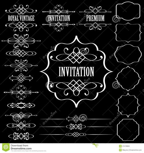 vector decorative design elements page decor set of vintage calligraphic design elements and pa royalty