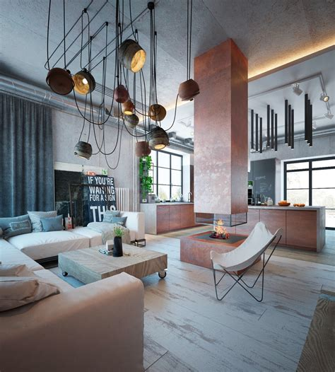 industrial interior an industrial home with warm hues