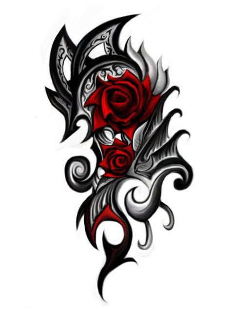 black and red rose tattoo designs flower and black tribal design