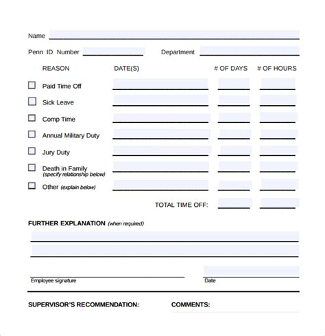 free printable time off sheets sle time off request form 23 download free documents
