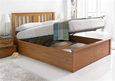 Wooden Bed Frame With Storage Malmo Oak Finish Wooden Ottoman Storage Bed Wooden Beds Beds