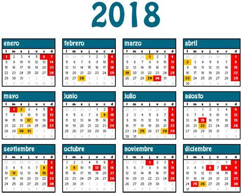 Calendario 2018 Con Festivos Calendario Laboral Para El A 241 O 2018 Lafisco