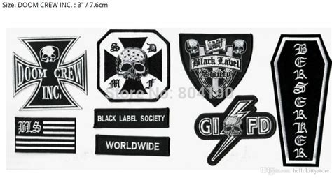 Black Label Society 5 Size M 2017 heavy metal band black label society bls patch set for vest chest back band logo