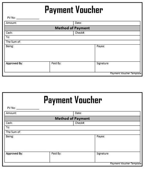 payment voucher template 8 free sle voucher templates printable sles