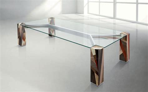 tavoli di design in cristallo tavolo in legno massello incrociato piano rettangolare in