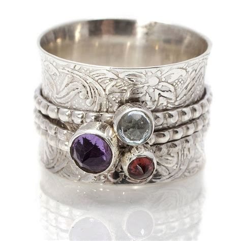 Handmade Silver Rings With Gemstones - handmade gemstone silver spinning ring