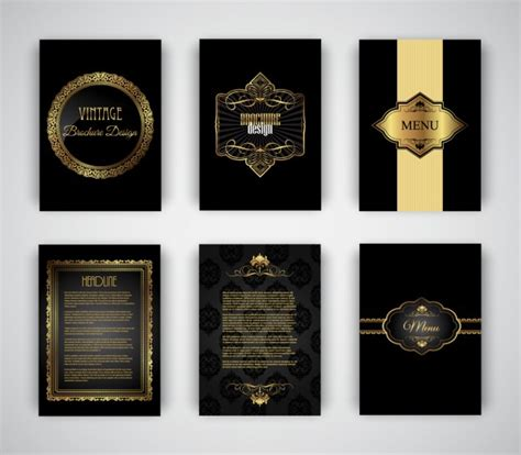 elegant and golden brochures templates vector free download