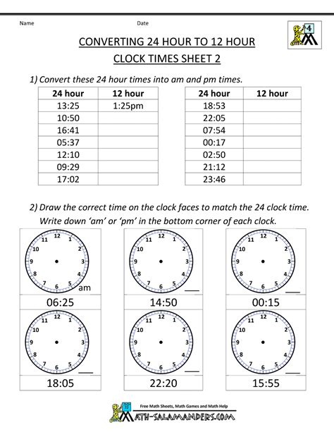 Time Worksheet by 24 Hour Clock Conversion Worksheets
