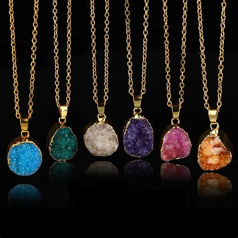 new druzy rock pendant necklace quartz