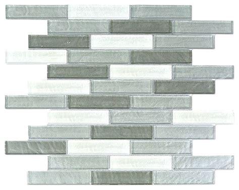 Grey Glass Mosaic Tile Backsplash by Gray White Linear Glass Mosaic Wall Tile 1 Quot X4 Quot Kitchen
