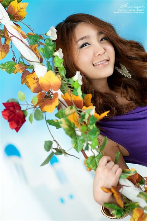 korean swing bang eun young in violet dress and flower swing teen