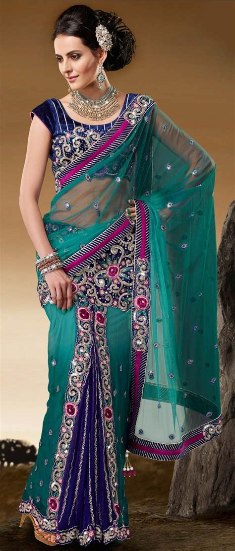 hairstyles in net saree shaded green net lehenga style saree with blouse
