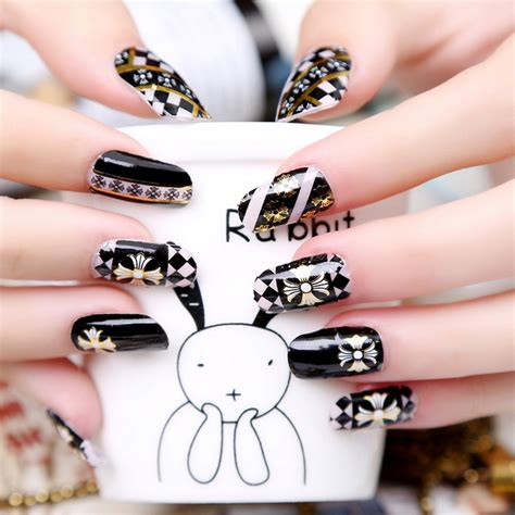 Bronzing Nail Stickers 16tips golden sting nail wraps manicure sticker