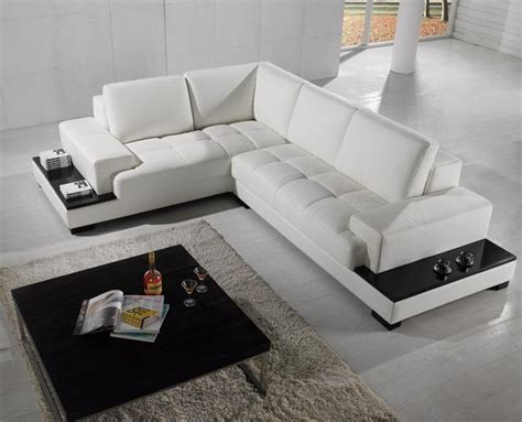 Contemporary White Sectional Sofa Modern Sectional Sofa In White Bonded Leather Modern Living Room Los Angeles By Eurolux