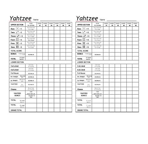 Yahtzee Score Card Template by House Yahtzee House Plan 2017