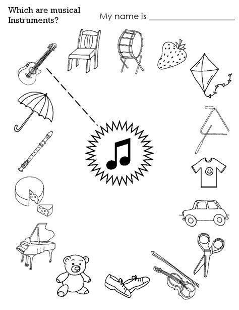 printable music activity sheets instrument worksheets for kids esl musical instruments