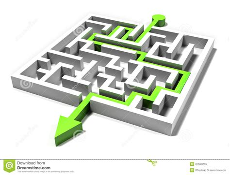 printable maze with multiple exits square maze exit with the green path stock illustration