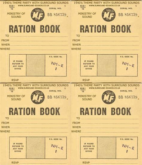 Template For Cards For Soldiers by 121 Best History Rationing Ration Books Images On