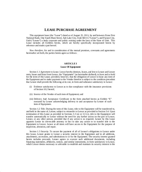 equipment lease agreement template equipment lease template 8 free word pdf documents