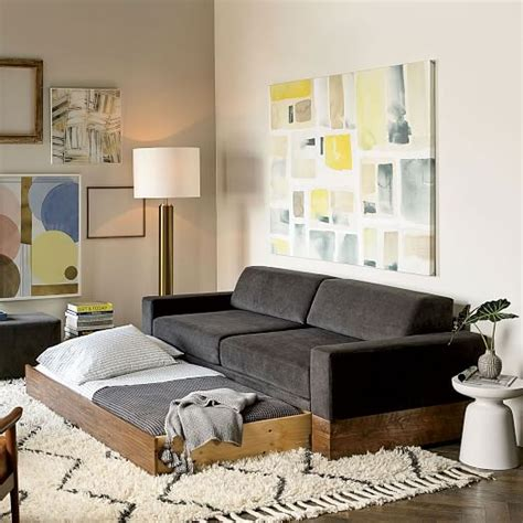 sofa daybed with trundle emery sofa daybed trundle west elm