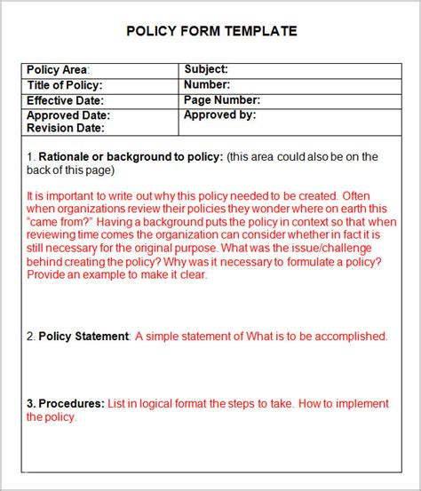 6 policy and procedure templates pdf doc