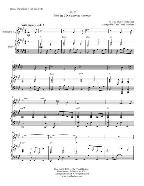 full version of taps piano music sheet music taps