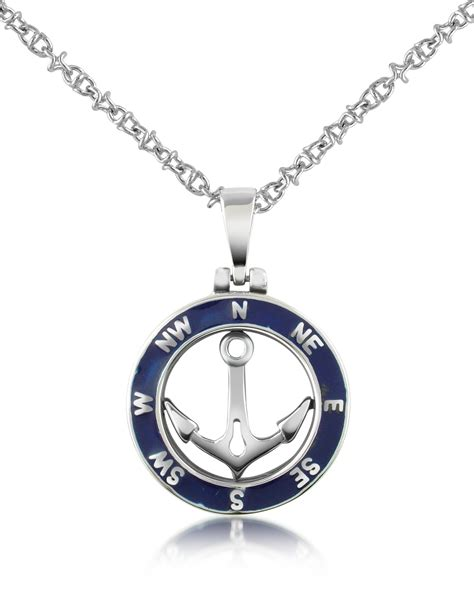forzieri stainless steel cutout rudder pendant necklace in