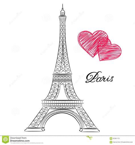 imagenes de i love you paris skizze von paris eiffelturm mit herzen vektor abbildung