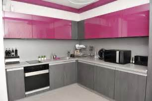 charming Bright Yellow Kitchen Accessories #4: kitchen-design-pink-and-grey.jpg