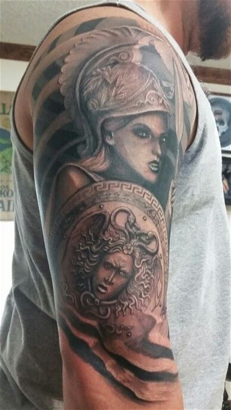 athena tattoo mythology athena medusa shield