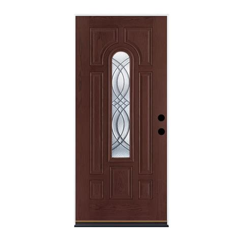 Lowes Doors Exterior Fiberglass Shop Therma Tru Benchmark Doors Terracourt Left Inswing Mahogany Stained Fiberglass