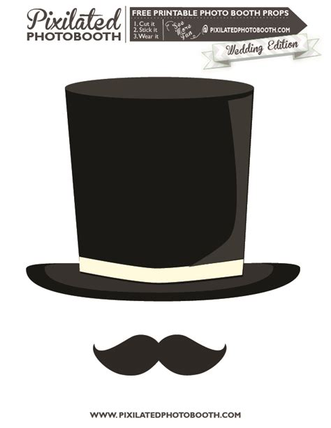 top hat template for top hat and mustache printable photo booth prop