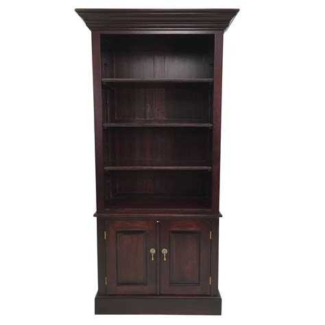 solid mahogany wood bookcase with cupboard shelves ebay