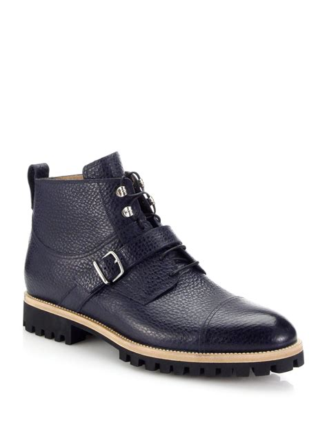 bally boots bally portland pebbled leather lace up boots in blue for