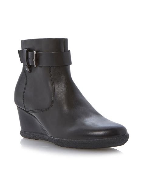 geox amelia stivali wedge buckle ankle boots in black lyst