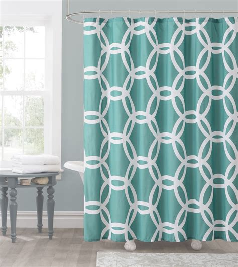White Teal Curtains Teal And White Embossed Fabric Shower Curtain Chain