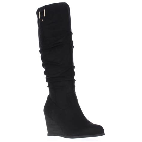 dr scholl s poe wedge slouch boots black ebay