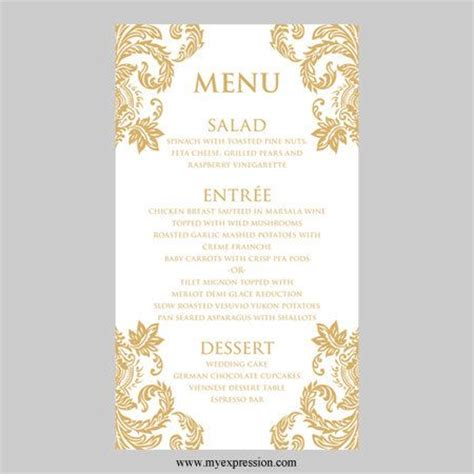 wedding menu card template gold damask by myexpressionshop