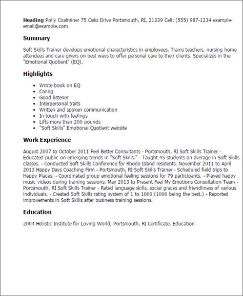 sle trainer resume soft skills 1 soft skills trainer resume templates try them now myperfectresume