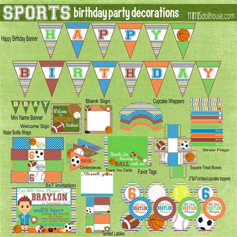 printable sports party decorations 29 best images about party printables and ideas on