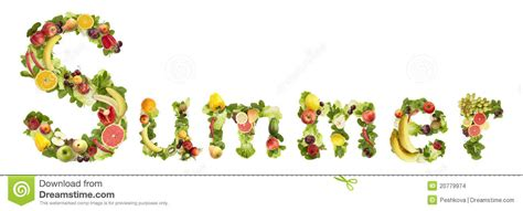 l word vegetables the word summer made of fruits and vegetables stock images
