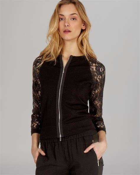 knit lace cardigan millen cardigan knit lace sleeve in black lyst