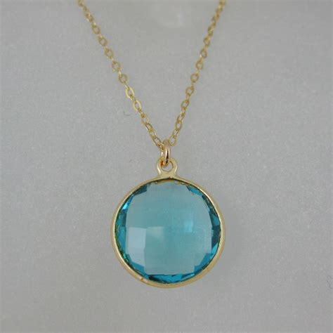 16 Necklace Gold Blue bezel gemstone pendant necklace gold plated chain