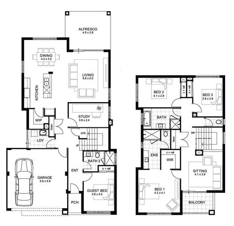4 Bedroom Floor Plans 2 Story Design Ideas 2017 2018 | sle floor plans 2 story home unique double storey 4