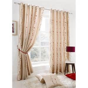 Ring Top Lined Curtains Blossom Floral Faux Silk Lined Ring Top Curtains More Available