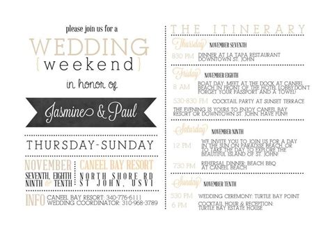 wedding weekend itinerary template free letter world