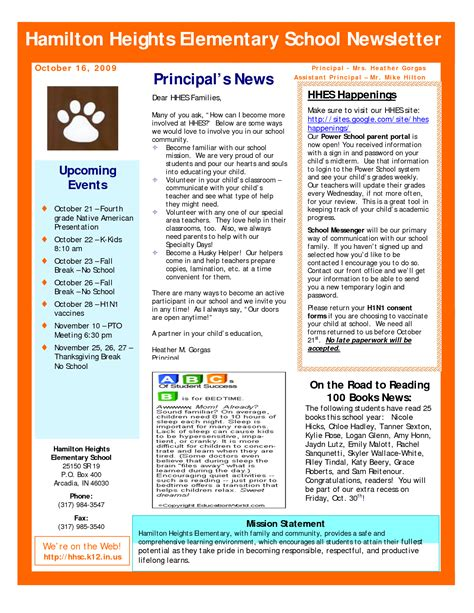 elementary school principal newsletter bing images